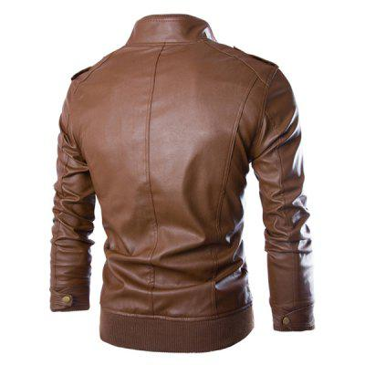 PU Leather Stand Collar Horizontal Zipper Epaulet Rib Spliced Long Sleeves Mens Slimming JacketMens Jackets &amp; Coats<br>PU Leather Stand Collar Horizontal Zipper Epaulet Rib Spliced Long Sleeves Mens Slimming Jacket<br><br>Clothes Type: Leather &amp; Suede<br>Collar: Mandarin Collar<br>Material: Cotton, Faux Leather<br>Package Contents: 1 x Jacket<br>Season: Fall, Winter<br>Shirt Length: Regular<br>Sleeve Length: Long Sleeves<br>Style: Casual<br>Weight: 0.7330kg