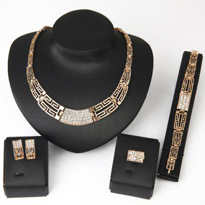 Buy GOLDEN Chic Rhinestone Hollow Out Women's Necklace Bracelet Ring and A Pair of Earrings for $8.85 in GearBest store