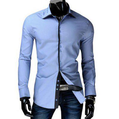 Trendy Slimming Shirt Collar Button Design Color Block Placket Long Sleeve Polyester Shirt For Men