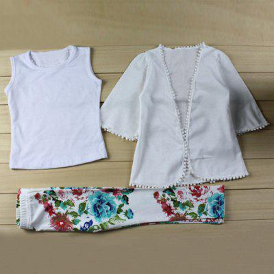 Stylish White Tank Top + Blouse + Floral Pants Girl's Three Piece Suit