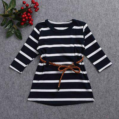 Stylish Jewel Neck Long Sleeve Colorful Dress For Girl