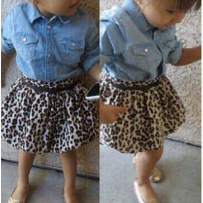Buy BLUE 90 Stylish Long Sleeve Denim Shirt + Mini Leopard Print Skirt Twinset For Girl for $13.34 in GearBest store