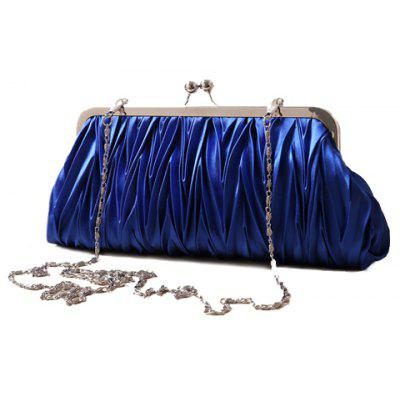 Stylish Satin and Solid Color Design Women's Evening Bag
