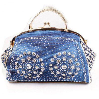 Stylish Woven Pattern and Rhinestones Design Women's Tote Bag