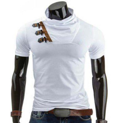 Cowl Neck Color Block Horn Button T-Shirt