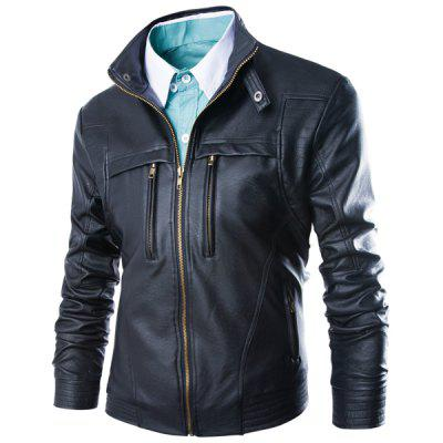 Modish Slimming Stand Collar Solid Color Zipper Design Long Sleeve PU Leather Jacket For Men