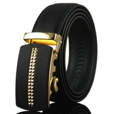 PU Leather Geometric Pattern Automatic Buckle Formal Belt