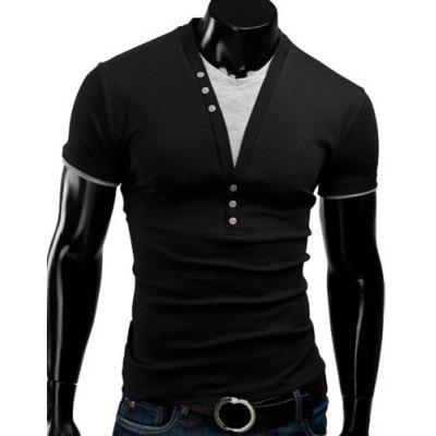 Buy V Neck Short Sleeve Button T Shirt, BLACK, 3XL, Apparel, Men's Clothing, Men's T-shirts, Men's Short Sleeve Tees for $14.47 in GearBest store