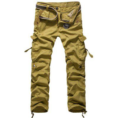 Loose Fit Modish Multi-Pocket Solid Color Straight Leg Men's Cotton Blend Cargo Pants