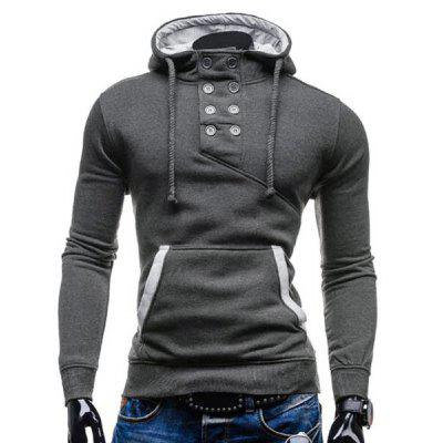 Buy DEEP GRAY 2XL Trendy Hooded Double Breasted Pocket Hemming Slimming Long Sleeve Cotton Blend Hoodie For Men for $15.51 in GearBest store