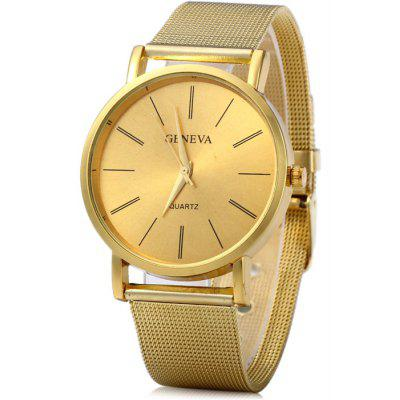 Geneva Male Quartz Watch Stainless Steel Strap Wristwatch