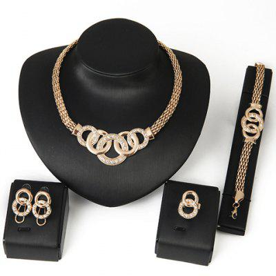 Gearbest Chic Rhinestone Annulus Necklace Bracelet Ring and A Pair of Earrings For Women  -  GOLDEN
