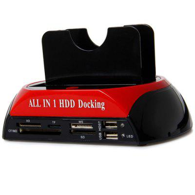 USB 2.0 All in 1 Dual Hard Disk Drive Docking with One Touch Backup for 2.5 / 3.5 inch SATA / IDE