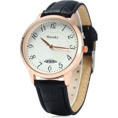 Weesky Golden Case Women Quartz Watch with Date Function Leather Band