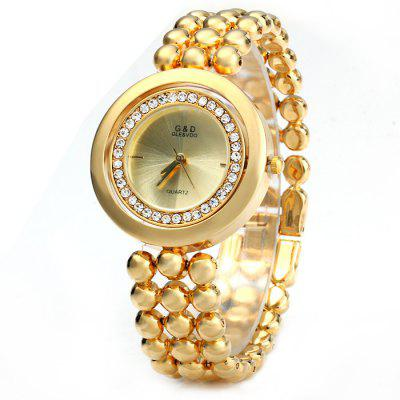 GND Diamond Women Quartz Chain Watch with Stainless Steel Body Rotated Dial