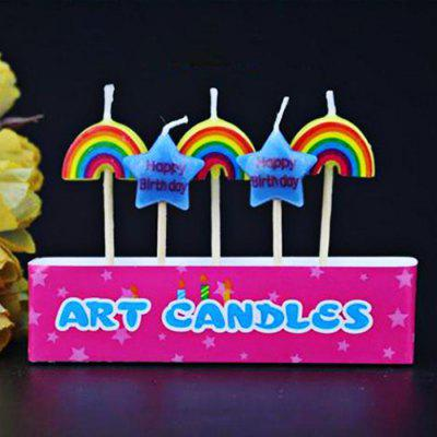5Pcs Pentagram and Rainbow Cartoon Birthday Candle