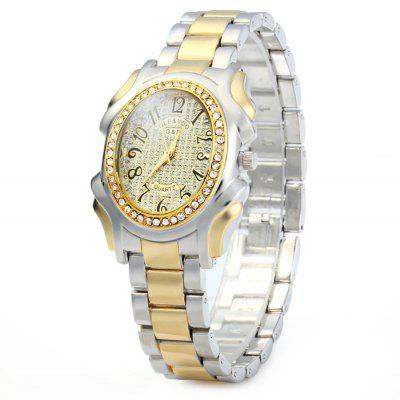GND Women Diamond Quartz Watch with Stainless Steel Band Oval Dial