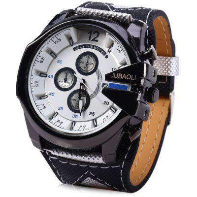 Buy WHITE Jubaoli Date Function Male Quartz Watch with Canvas + Leather Band for $10.28 in GearBest store