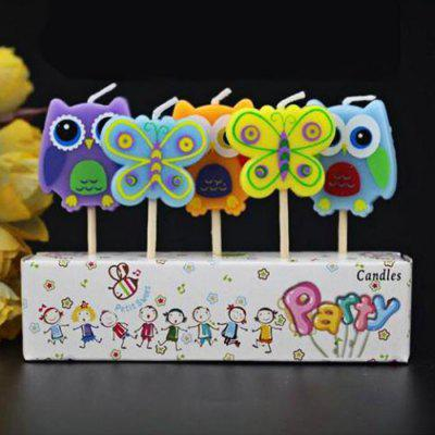 5Pcs Butterfly and Owl Cartoon Birthday Candle