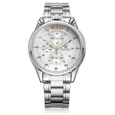 Buy WHITE MEGIR 3005 Water Resistant Male Japan Quartz Watch with Stainless Steel Band for $31.35 in GearBest store