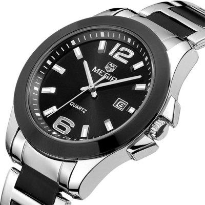 MEGIR 5006G Date Display Male Japan Quartz Watch with Stainless Steel Band