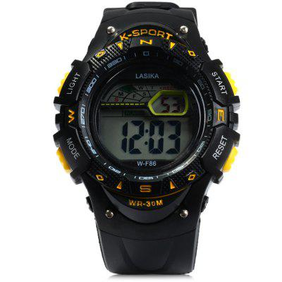 Lasika WF86 LED Sports WatchSports Watches<br>Lasika WF86 LED Sports Watch<br><br>Available Color: Yellow,Green,Blue,Red,Black<br>Band material: Rubber<br>Brand: Lasika<br>Case material: PC<br>Clasp type: Pin buckle<br>Display type: Digital<br>Movement type: Digital watch<br>Package Contents: 1 x Lasika WF86 LED Watch, 1 x Chinese and English Manual<br>Package size (L x W x H): 25 x 5.2 x 2.5 cm / 9.83 x 2.04 x 0.98 inches<br>Package weight: 0.088 kg<br>People: Male table<br>Product size (L x W x H): 24 x 4.2 x 1.5 cm / 9.43 x 1.65 x 0.59 inches<br>Product weight: 0.038 kg<br>Shape of the dial: Round<br>Special features: Alarm Clock, Day, Stopwatch, Date, Light<br>The band width: 2.1 cm / 0.83 inches<br>The dial diameter: 4.2 cm / 1.65 inches<br>The dial thickness: 1.5 cm / 0.6 inches<br>Watch style: LED, Outdoor Sports<br>Water resistance: 30 meters<br>Wearable length: 15 - 21 cm / 5.9 - 8.27 inches