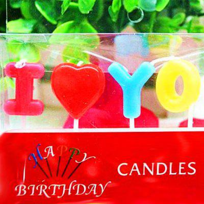 I Love You Style Cartoon Birthday Candle Set