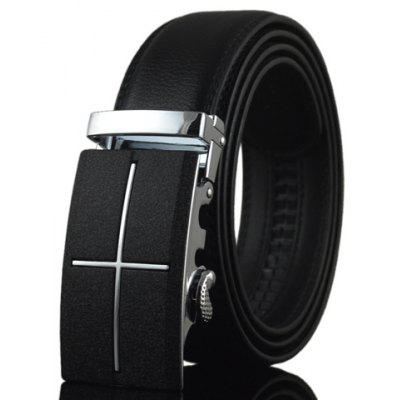 Stylish PU Leather Alloy Automatic Buckle Belt For Men