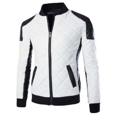 Stylish Slimming Stand Collar Color Block Rib Splicing Long Sleeve PU Leather Jacket For Men