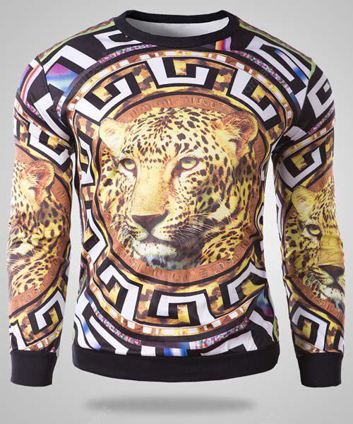 Fashion Round Neck 3D Leopard Pattern Slimming Long Sleeve Cotton Blend Sweatshirt For Men