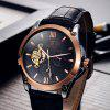 Tevise 8502 Men Tourbillon Design Automatic Mechanical Watch with Leather Band - BLACK