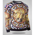 Buy Fashion Round Neck 3D Leopard Pattern Slimming Long Sleeve Cotton Blend Sweatshirt Men L GOLDEN