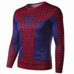 Buy Modish Round Neck Color Block 3D Spider-Man Print Slimming Long Sleeve Quick-Dry T-Shirt Men RED