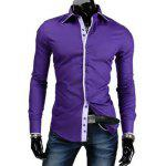 Buy PURPLE Trendy Slimming Shirt Collar Button Design Color Block Placket Long Sleeve Polyester Shirt For Men for $13.30 in GearBest store
