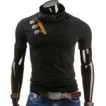 Cowl Neck Color Block Horn Button T-Shirt - BLACK