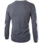 Buy Fashion Slimming Round Neck Buttons Design Patched Splicing Long Sleeve Woolen Blend T-Shirt Men M GRAY