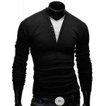 Modish Fitted V-Neck Faux Twinset Button Design Long Sleeve Polyester T-Shirt For Men - BLACK
