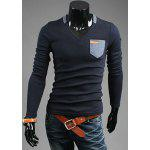 Fashion Slimming V-Neck Contrast Color Pocket Labeling Long Sleeve Polyester T-Shirt For Men - CADETBLUE