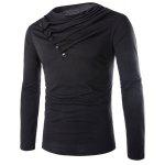 Modish Slimming Cowl Neck Solid Color Button Design Long Sleeve Polyester T-Shirt For Men - BLACK