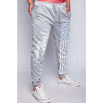 Buy Loose Fit Stylish Lace-Up American Flag Print Beam Feet Men's Polyester Jogger Pants M LIGHT GRAY