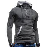 Trendy Hooded Double Breasted Pocket Hemming Slimming Long Sleeve Cotton Blend Hoodie For Men - CINZA ESCURO