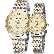 Longbo 8851 Lover Japan Quartz Watch with Stainless Steel Band