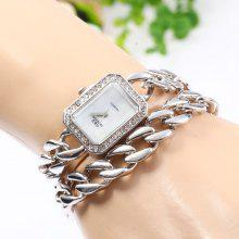 GND Women Quartz Chain Watch with Hollow Out Alloy Band Diamond Bezel