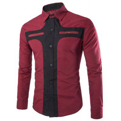 Long Sleeve Polyester Men Red Shirt