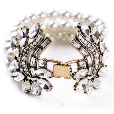 Luxury Faux Pearl Rhinestone Layered Bracelet For Women