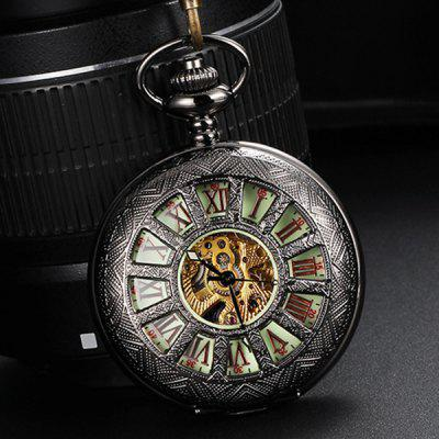 Hollow-out Retro Automatic Mechanical Pocket Watch with Luminous Dial