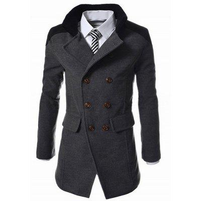 Slimming Stand Collar Inclined Top Fly Color Spliced Flap Pocket Men's Long Sleeves Peacoat