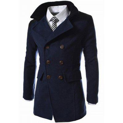 Emagrecimento Stand Collar Inclinado Top Fly Color Spliced ​​Flap Pocket Men's Sleeves Long Peacoat