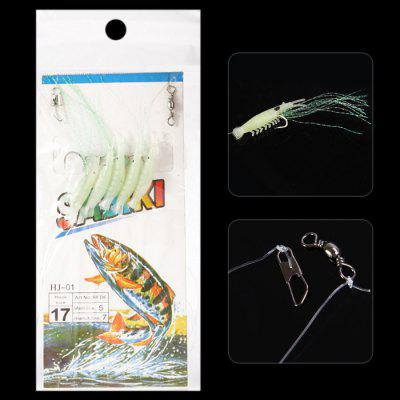 5 in 1 108cm Soft Shrimp Sabiki Rigs Fishing Bait