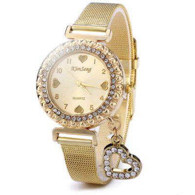 KimSeng Heart-shaped Pendant Golden Steel Net Strap Lady Quartz Watch